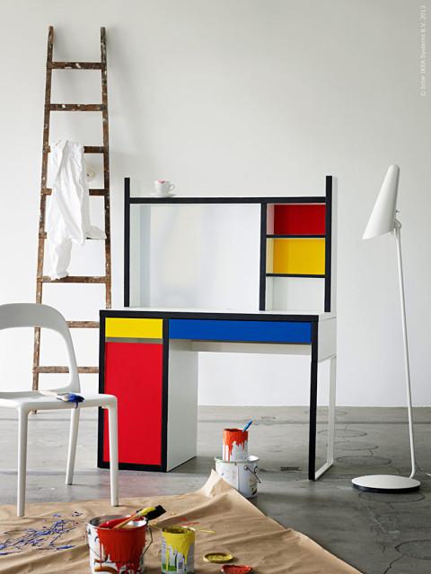 Micke asztal Mondrian-stílusban átalakítva