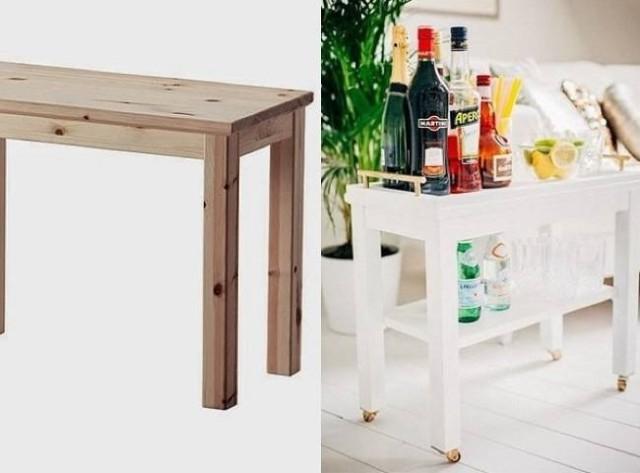DIY zsúrkocsi IKEA dohányzóasztalból