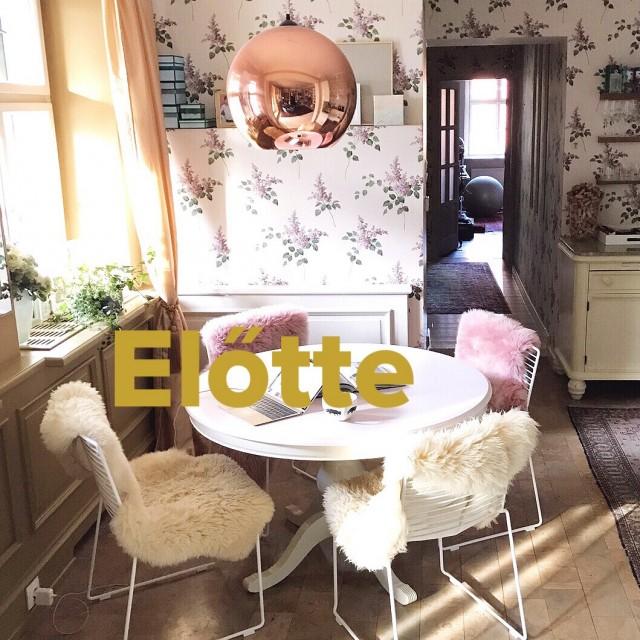 Kicsiház étkező az orgonás tapétával